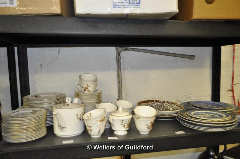 Lot 7538 - Royal Worcester part dinner service with golden brown foliage on white ground, comprises 10 each