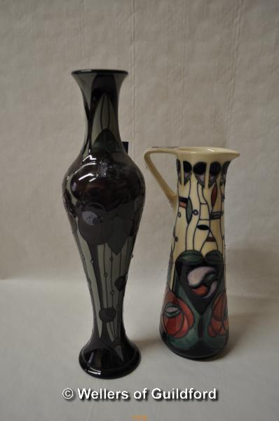Lot 7470 - Moorcrft Rennie Rose tall jug, grade 2, 32cm; a Tribute to Charles Rennie Mackintosh jug, 24cm. (2)