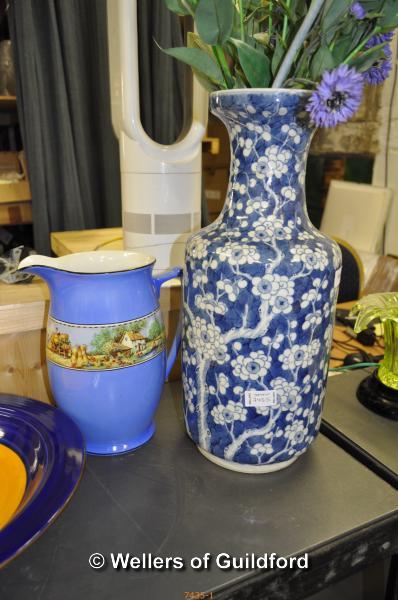 Lot 7435 - Decorative items comprising Royal Worcester Millenium bowl 'Time', purple glass vase, Chinese blue