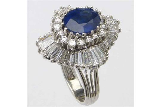 Sapphire and diamond foliate shaped cluster ring, the oval ...