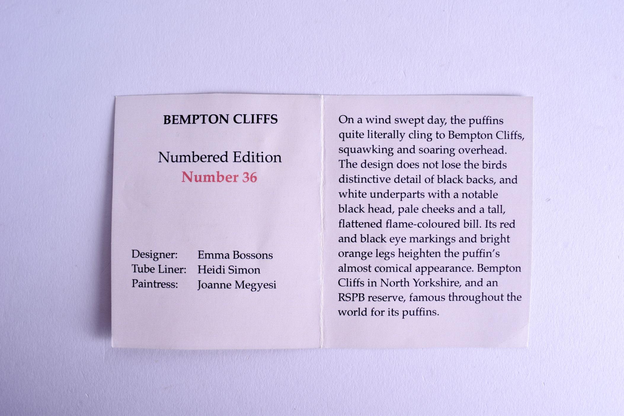Lot 40 - A MOORCROFT 'BEMPTON CLIFFS' VASE designed by Emma Bossons. No 36. 14 cm wide.