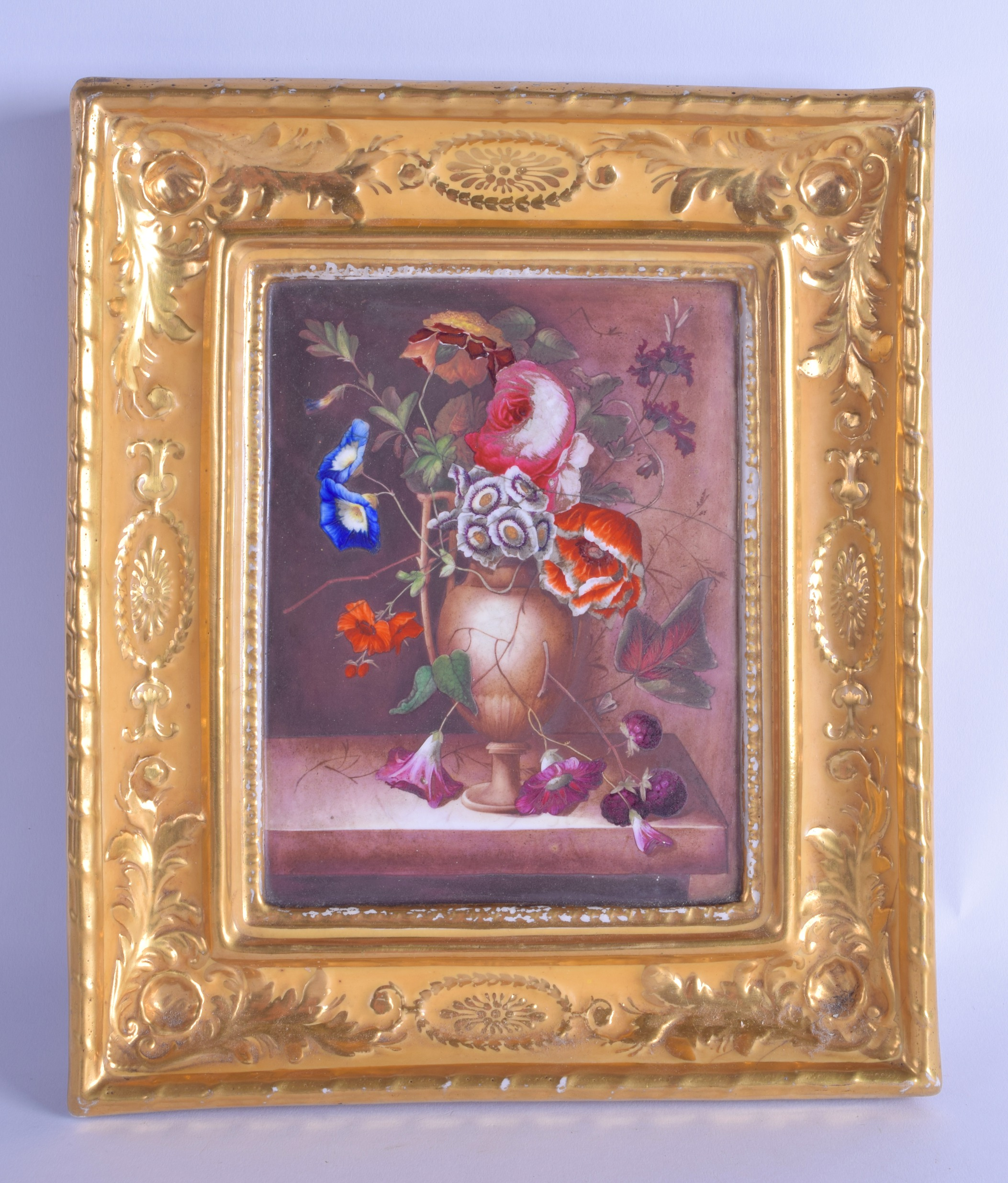 Lot 165 - 19th c. Worcester plaque with integral porcelain frame painted with a vase of flower, the reverse