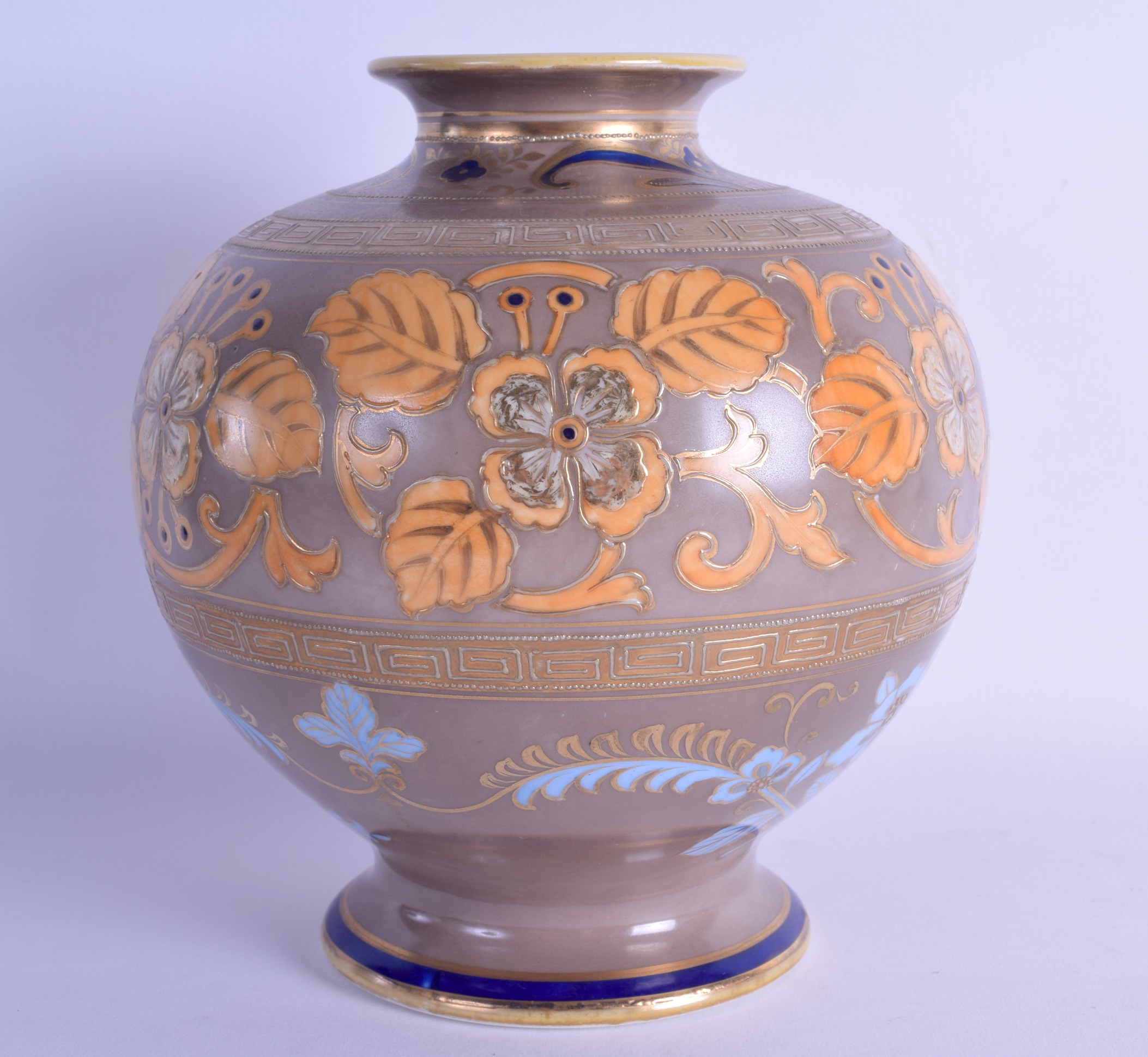 Lot 144 - 20th c. Noritake vase with two Greek key borders and orange plants highlighted in gold. 18cm high