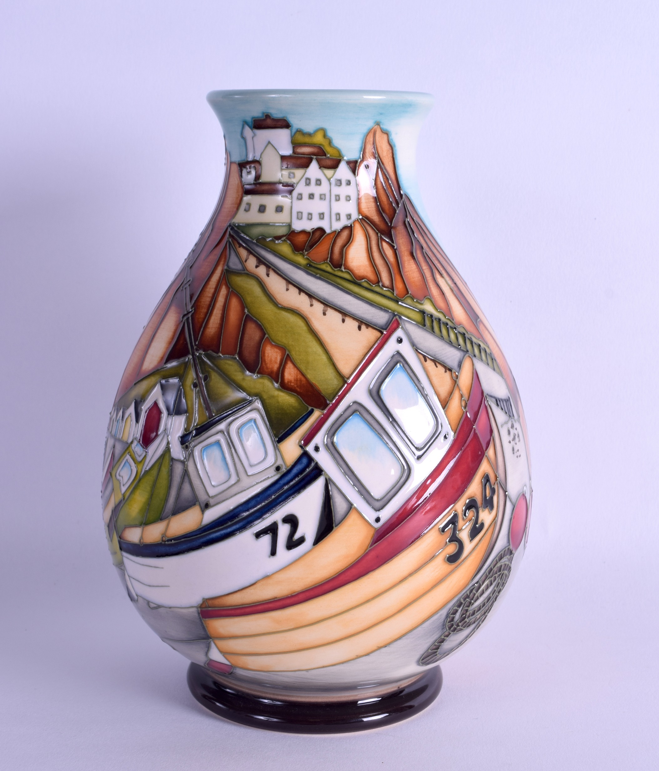 Lot 37 - A MOORCROFT 'MEMORIES OF THE SEASIDE' VASE designed by Kerry Goodwin. No 98 of 200. 18.5 cm high.