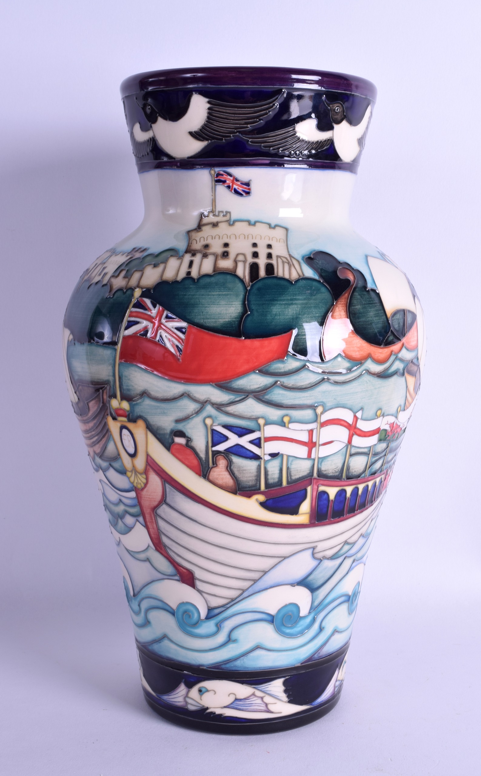 Lot 54 - A MOORCROFT 'GLORIANA' TRIAL VASE designed by Emma Bossons. 30 cm high.