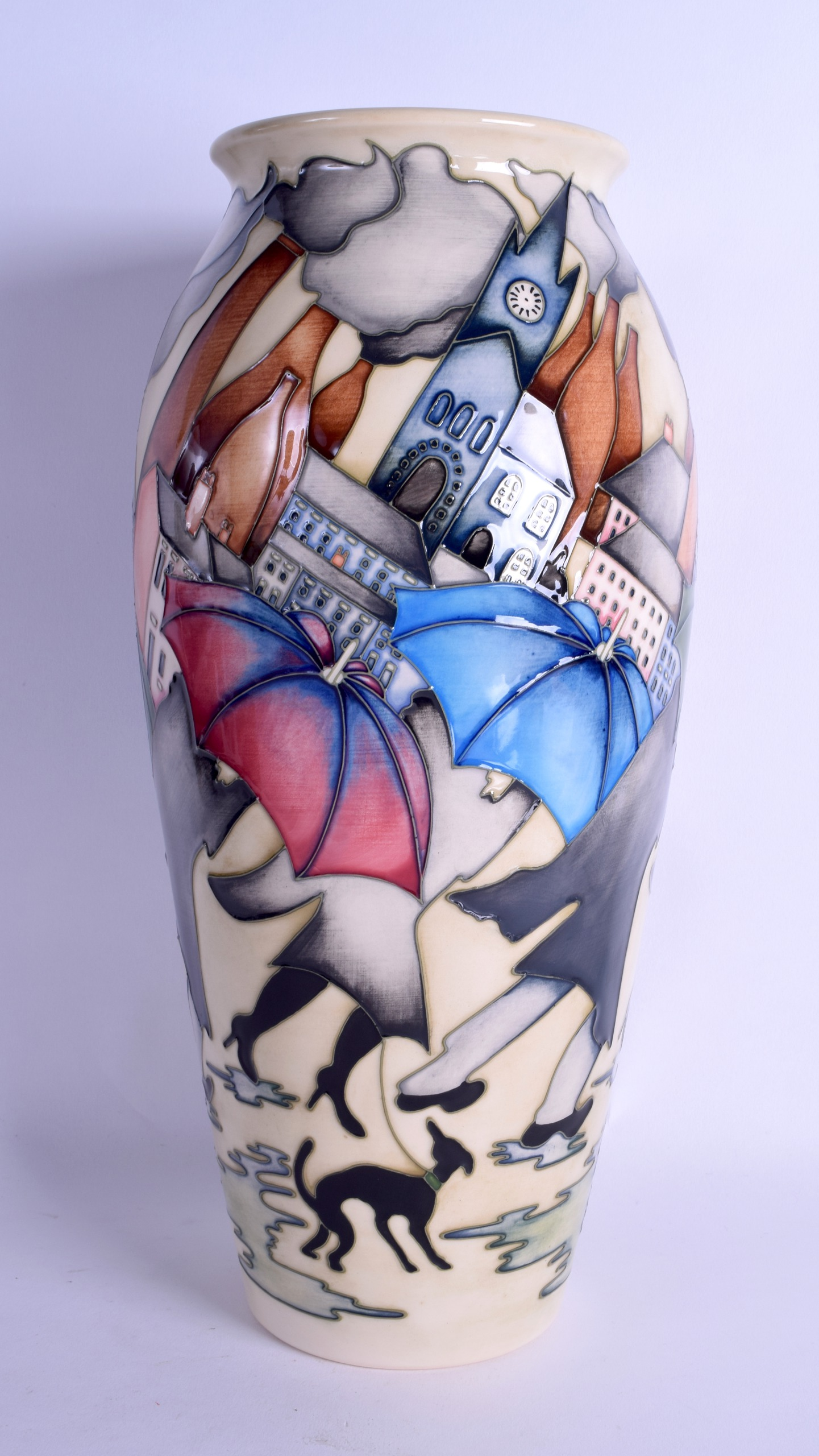 Lot 35 - A MOORCROFT 'POTTERIES IN RECESSION' VASE designed by Kerry Goodwin. No 2 of 150. 36 cm high.