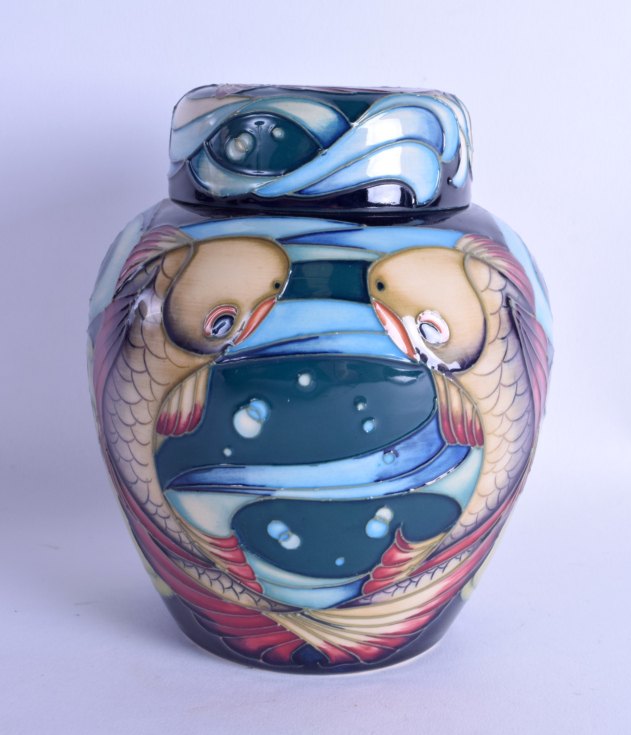 Lot 39 - A MOORCROFT 'LAGOON' GINGER JAR designed by Philip Gibson. No 17 of 50. 15 cm high.