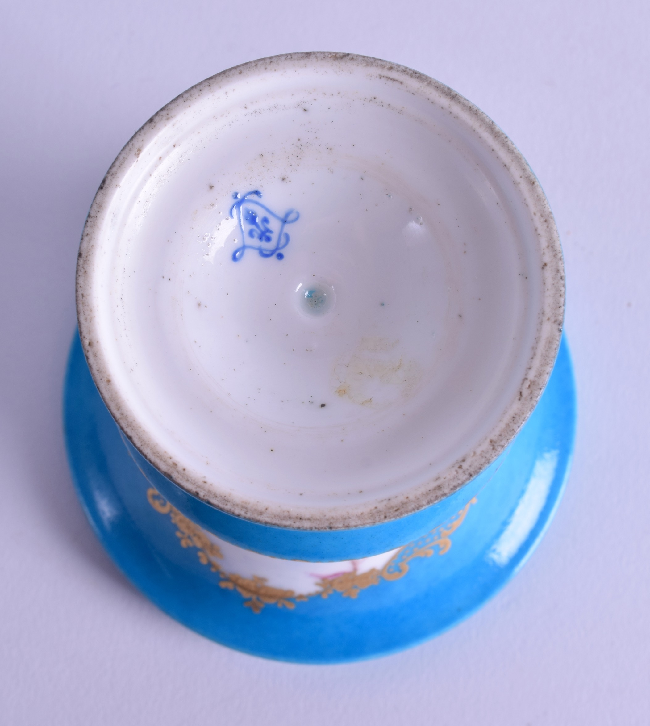 Lot 136 - 19th c. Sevres style vase painted with two harbour scenes on a turquoise ground. 10cm high