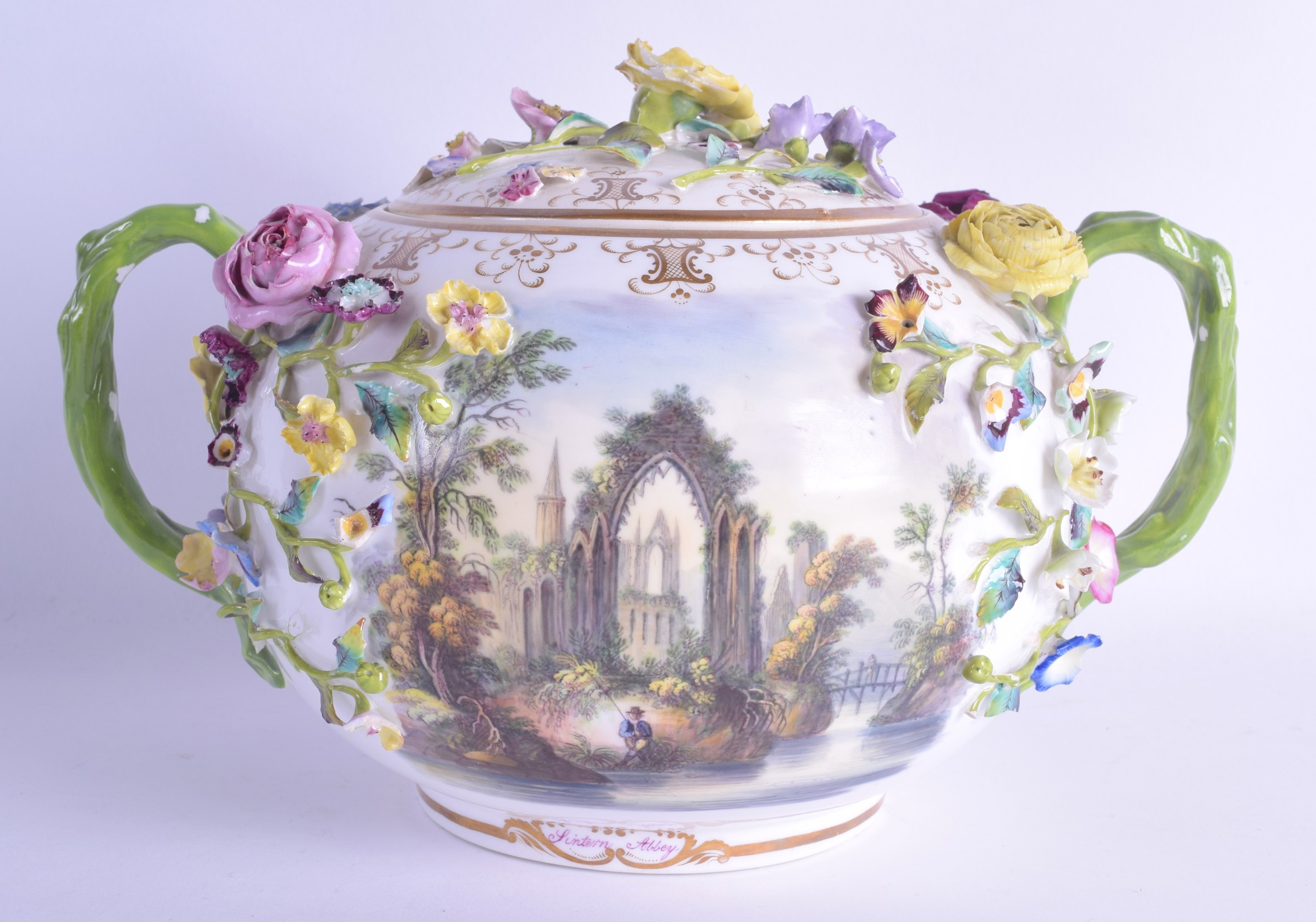 Lot 97 - A LARGE MID 19TH CENTURY MINTON ENCRUSTED TWIN HANDLED BOWL AND COVER painted with landscapes and