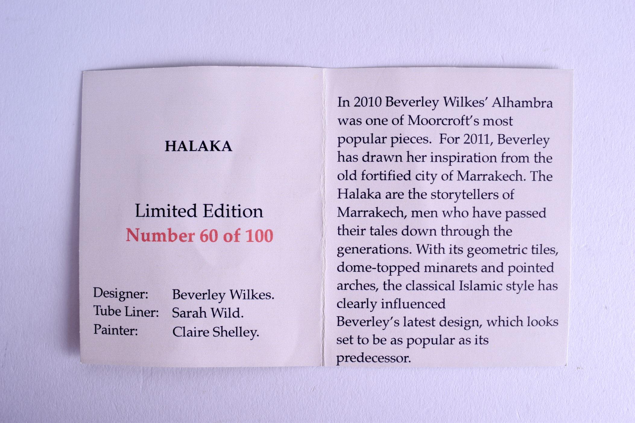 Lot 57 - A MOORCROFT 'HALAKA' VASE designed by Beverley Wilkes. No 60 of 100. 33 cm high.