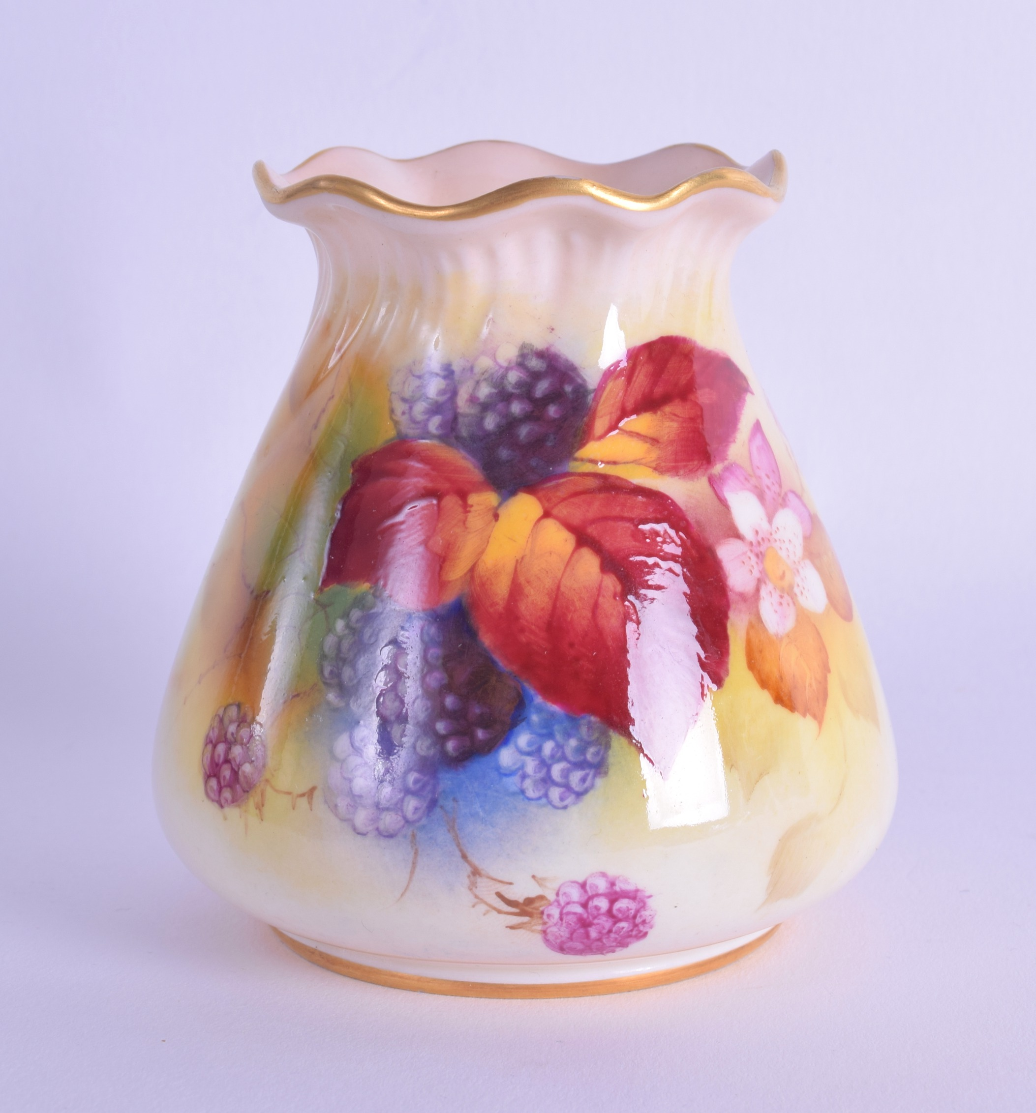 Lot 156 - Royal Worcester vase with pie crust rim painted with autumnal leaves and berries by Kitty Blake
