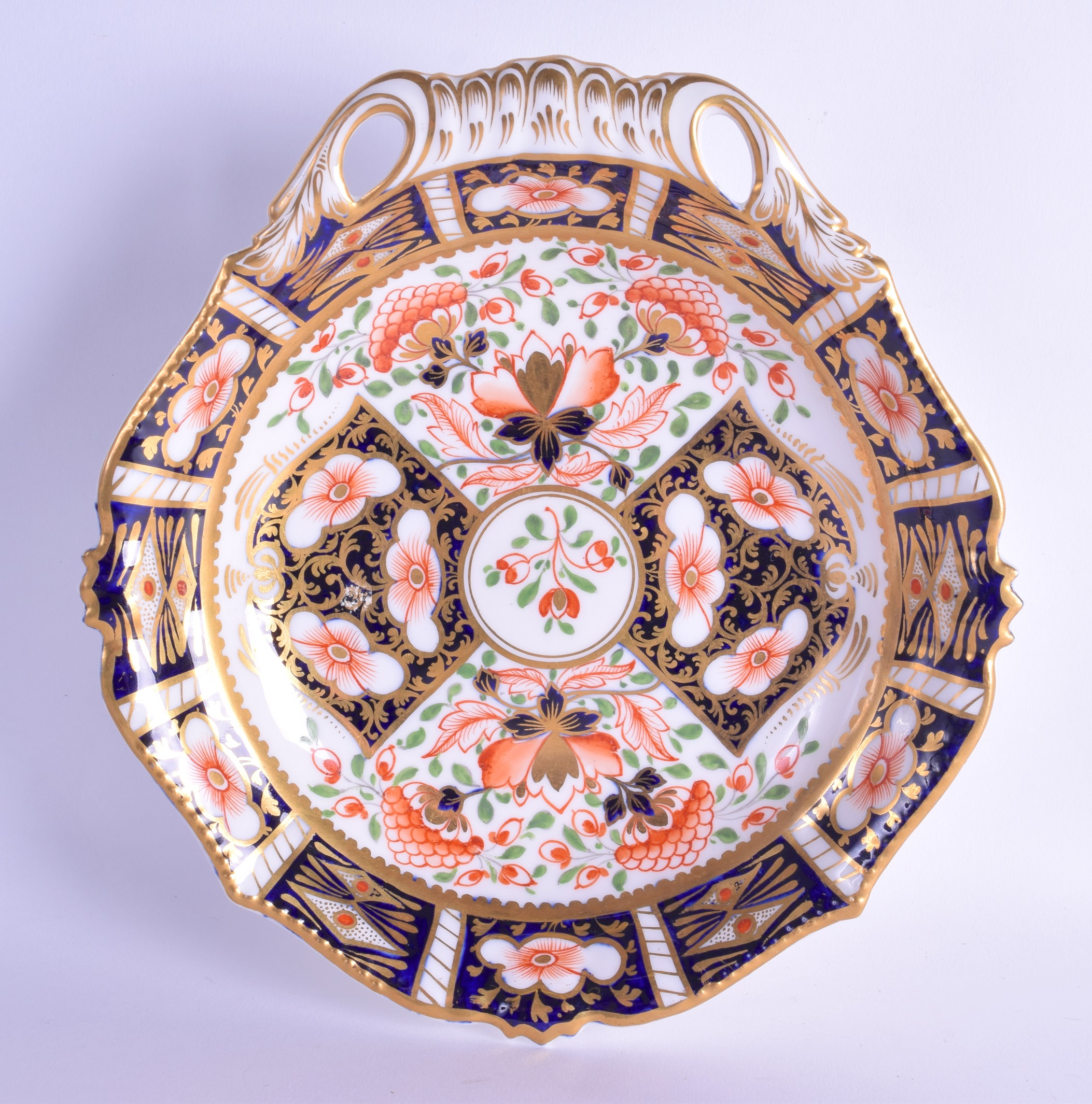 Lot 147 - Early 20th c. Derby Sampson Hancock factory imari pattern shell shaped dish painted in a fine