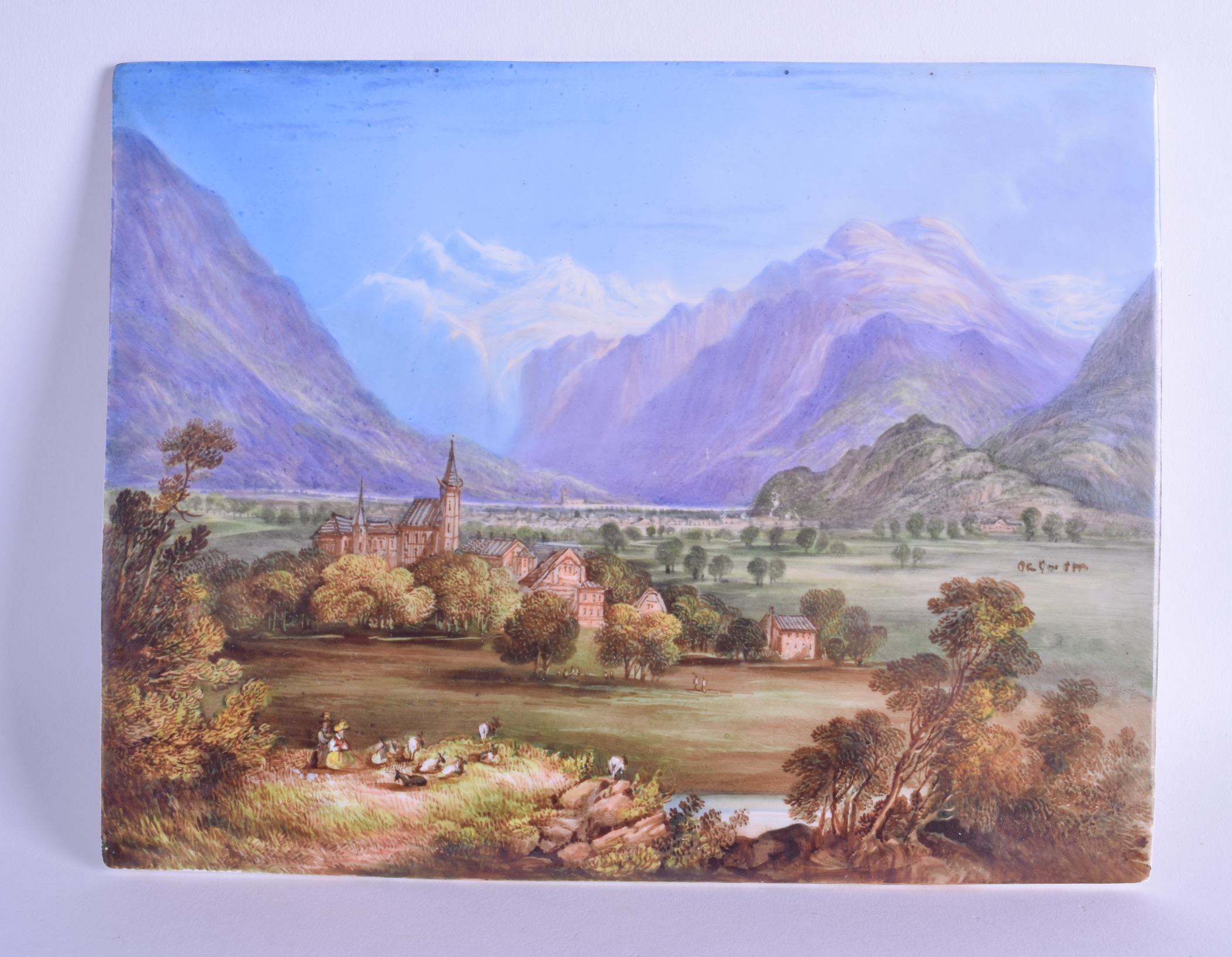 Lot 163 - Mid 19th c. English porcelain plaque, probably Davenport painted with a titled scene of 'Interlacken