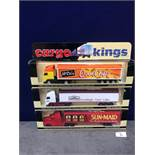 3x Lledo Cargo King Diecast Trucks Comprising Of; Cargo Kings Mr Kipling Articulated Truck , Lledo