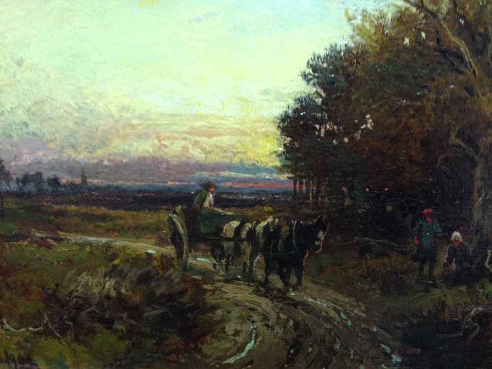 Lot 426 - William Manners (British, 1860-1930) The End of the day - a pony and trap going home at sunset