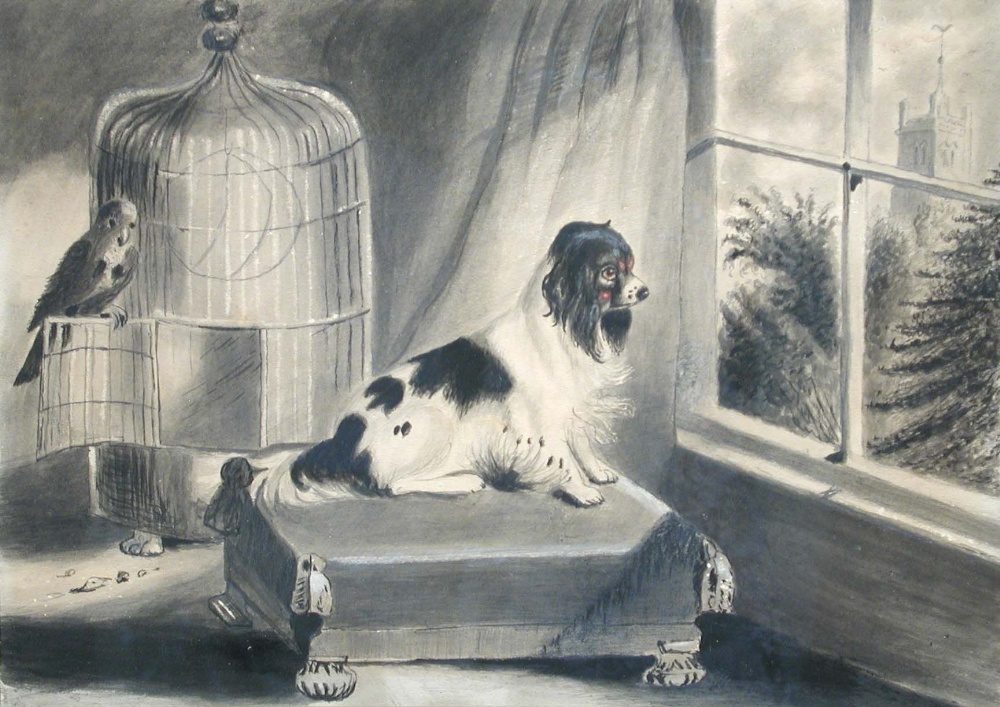 Lot 534 - English School (19th Century) A Cavalier King Charles Spaniel on a cushion, with a parrot alongside,