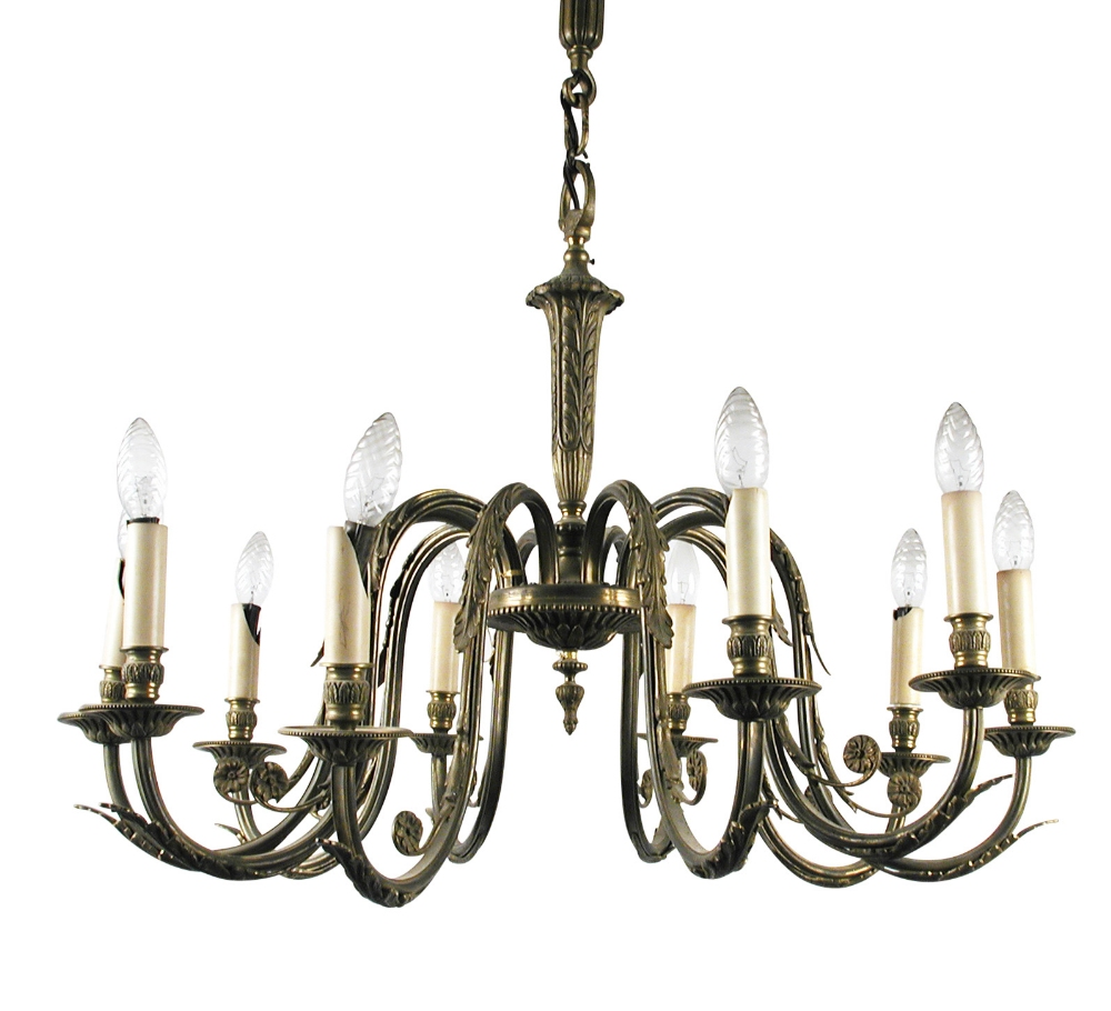 Lot 633 - A neo classical style brass ten branch electrolier, leaf moulded branches, column and ceiling boss