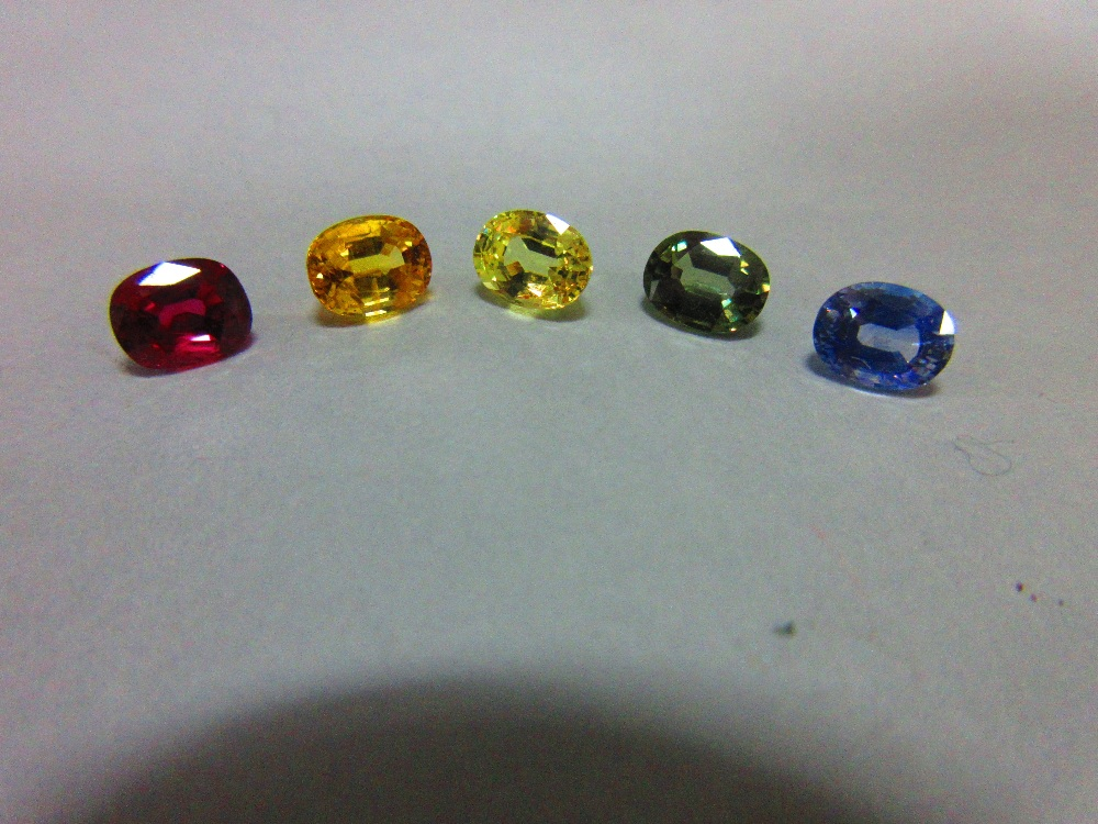 Lot 99 - A loose ruby and four loose variously coloured sapphires, all oval to rectangular cushion cut and