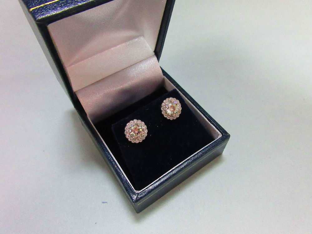 Lot 229 - A pair of diamond cluster earstuds, each designed as a four claw set principal round brilliant cut