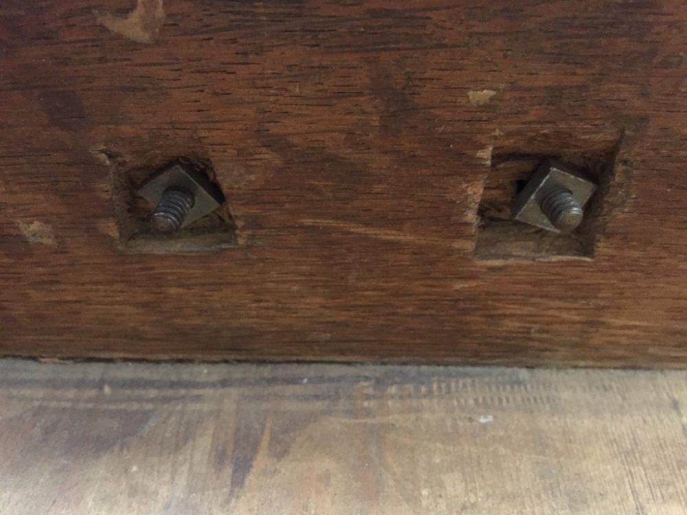 Lot 729 - A Queen Anne oak lowboy, fitted one drawer, brass plate handles, fret carved frieze with central