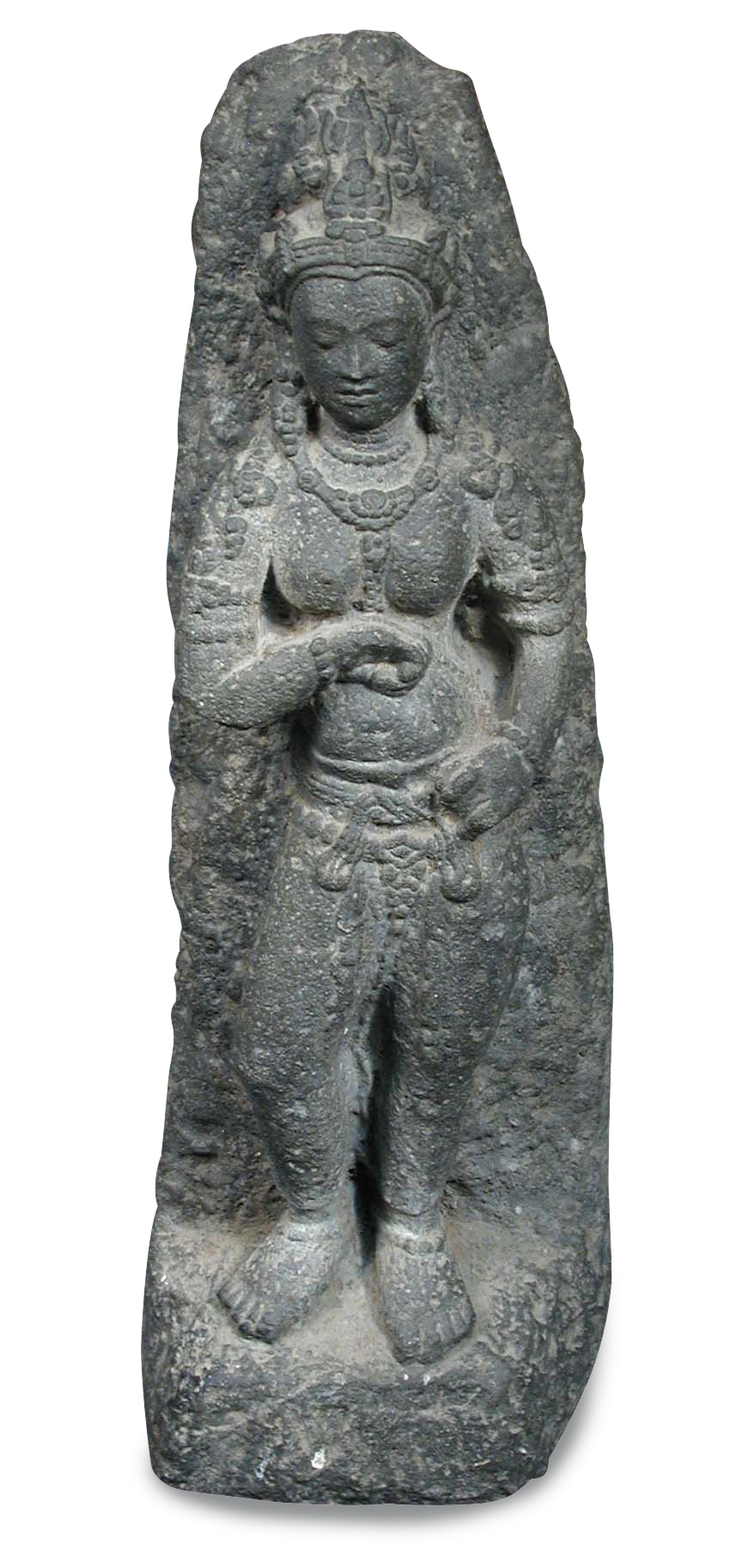Lot 619 - A Gandharan schist goddess, possibly Hariti and 2nd-3rd century AD, she stands draped only in