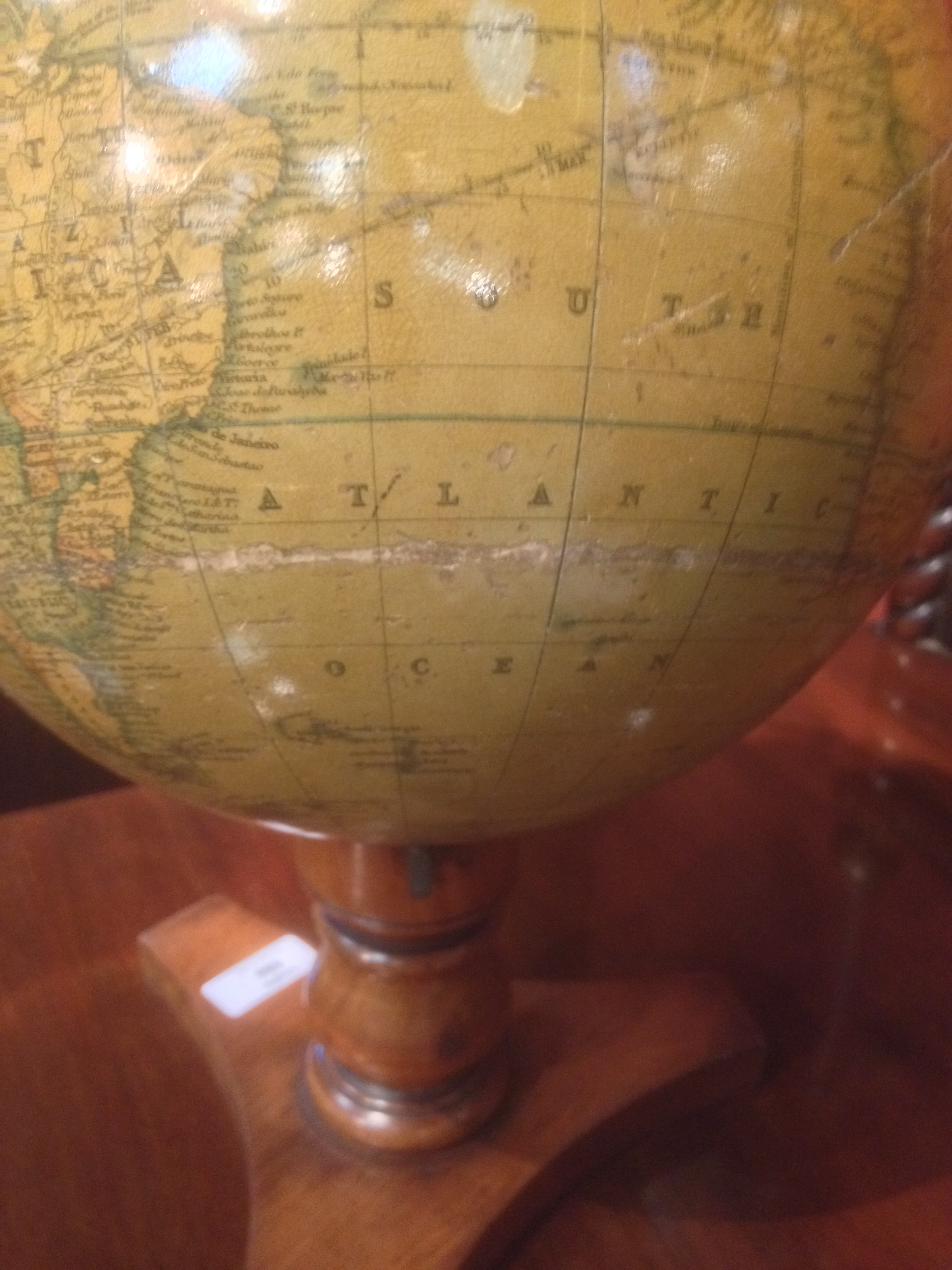 Lot 586 - A Thomas Malby 8 inch terrestrial table globe, circa 1848, on a turned walnut tripod base 36cm (