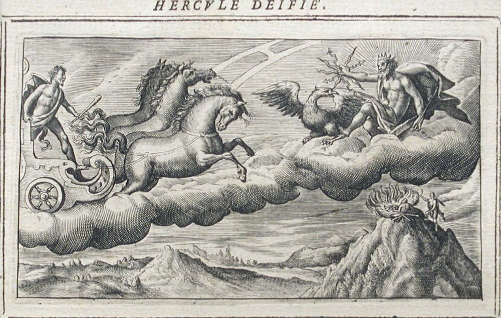 Lot 383 - Crispin de la Passe (French, 1564-1637) Hercule Deifie etching and another unknown etching, possibly