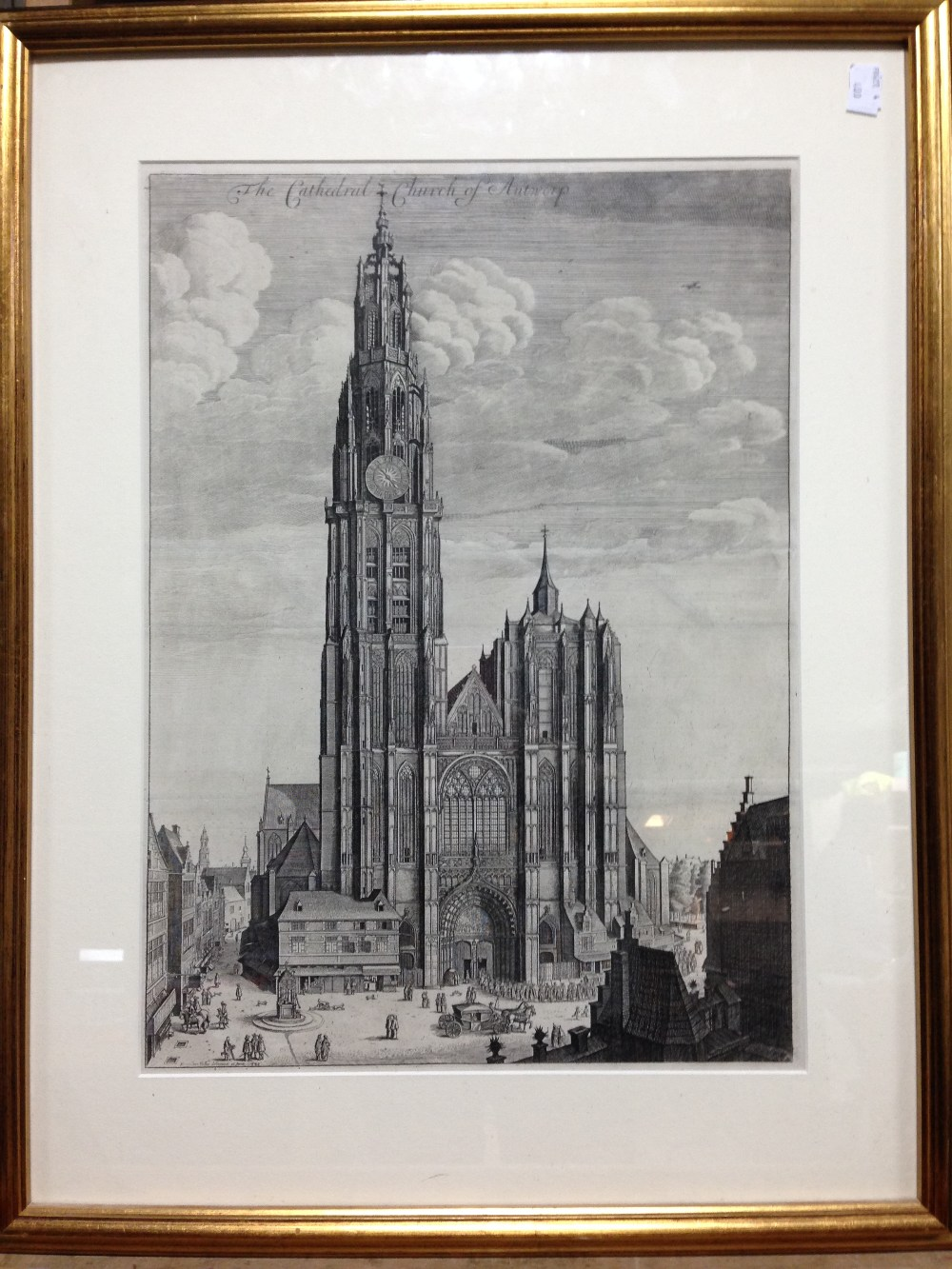 Lot 382 - Wenceslaus Hollar (Bohemian, 1607-1677) Antwerp Cathedral 1649 or later, state with text above the
