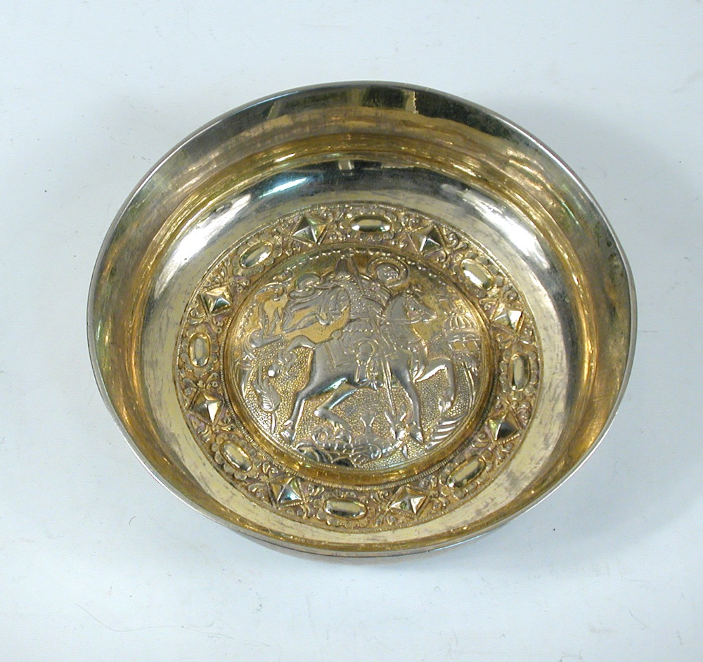 Lot 296 - A small parcel gilt bowl, possibly German or Eastern European, unmarked, circular with central