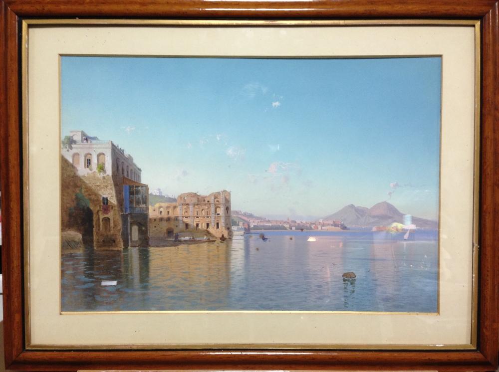 "Lot 452 - Cesare Uva (Italian, 1824-1886) The Bay of Naples signed lower left on the rock ""Uva"" gouache 38 x"