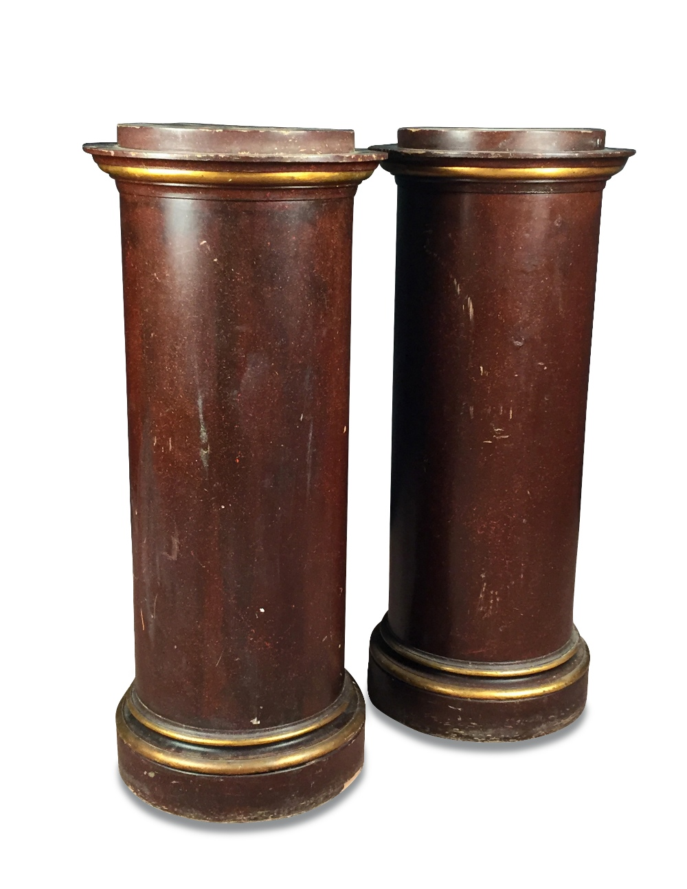 Lot 788 - A pair of faux porphyry pedestal columns, with moulded gilt edged capitals and plinth bases (2)
