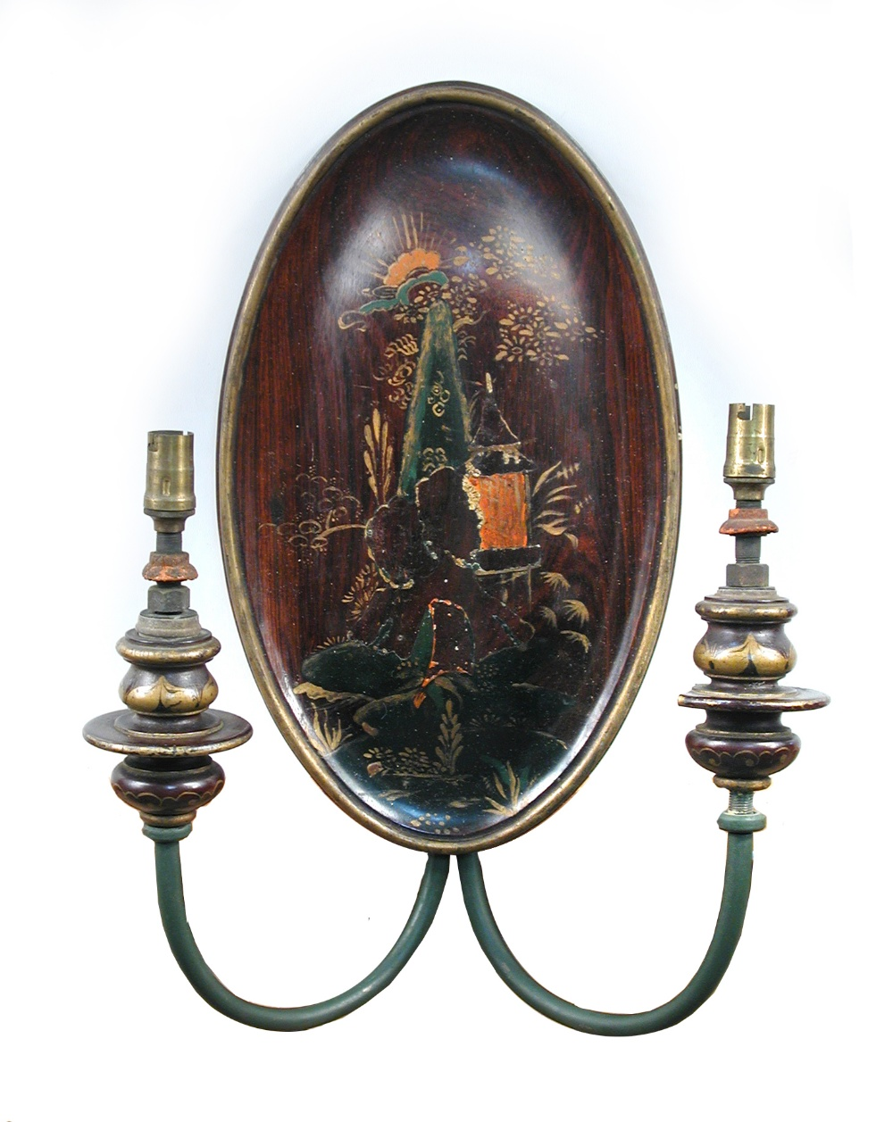 Lot 636A - A set of four 1920's Chinoiserie wall lights, the oval mahogany back plates lacquered with Chinese