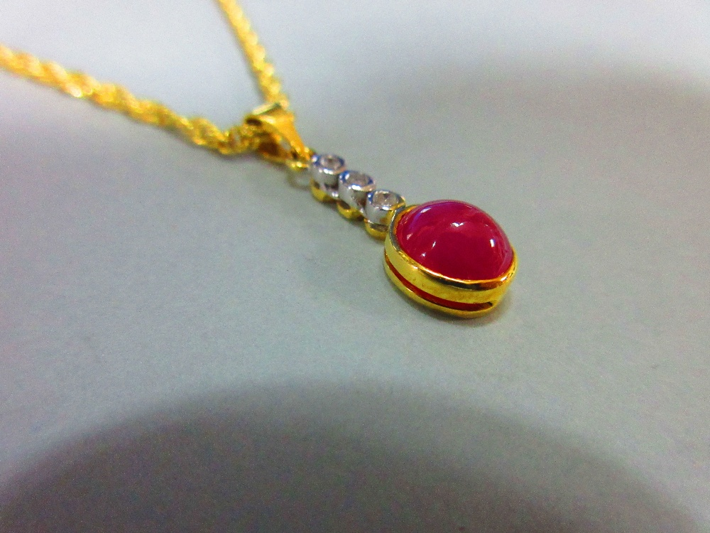 Lot 178 - A ruby and diamond pendant with gold chain, the pendant designed as an articulated line of collet