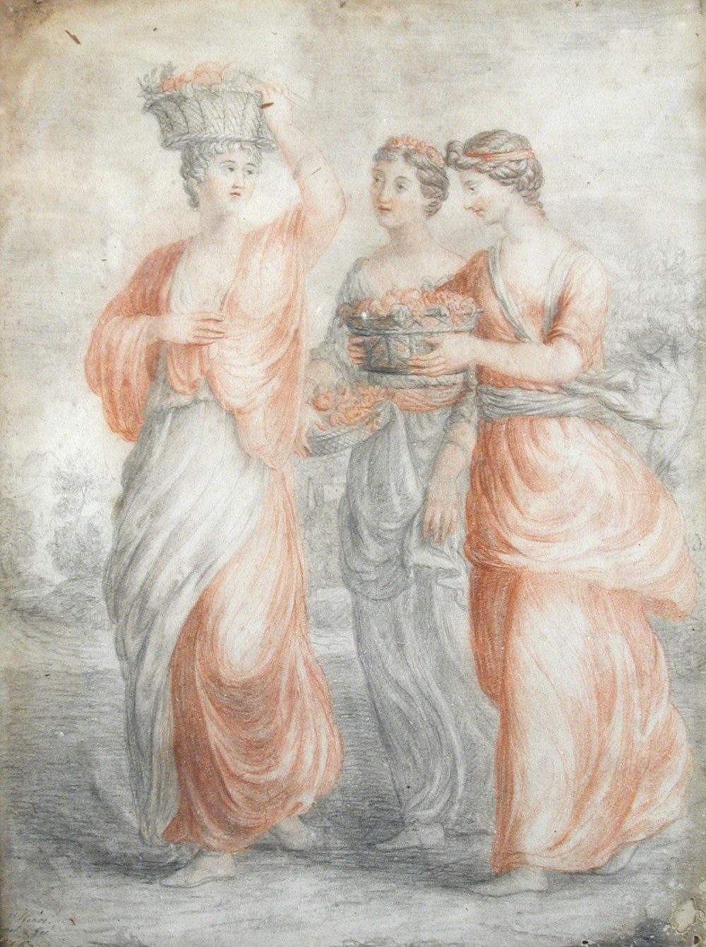Lot 483 - William Hoare, RA (British, 1707-1782) Three classical maidens carrying baskets of fruit signed