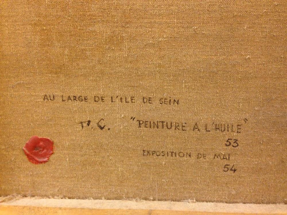 """Lot 446 - § Pierre de Clausade (French, 1910-1976) Au large de L' Ile de Sein signed lower left """"Pierre de"""