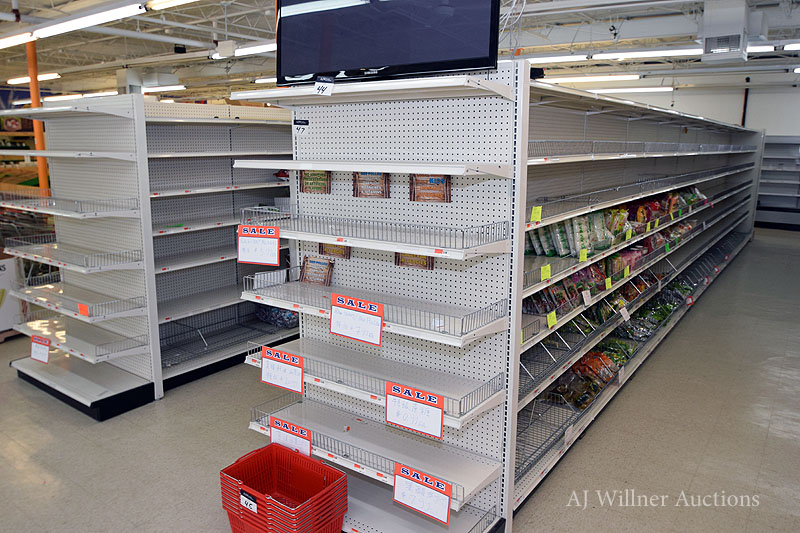 "Lot 47 - Sections of Madix Double Sided Pegboard Display Racks, 7 Tier 84"" High w/ 4 end caps"