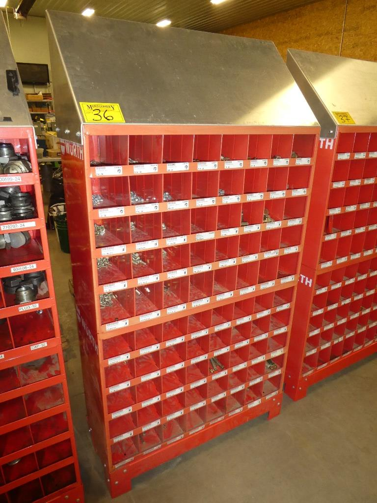 Lot 36 - 2-WURTH 40 COMPARTMENT BOLT BINS W/ STAND & GR. 8 HARDWARE SAE
