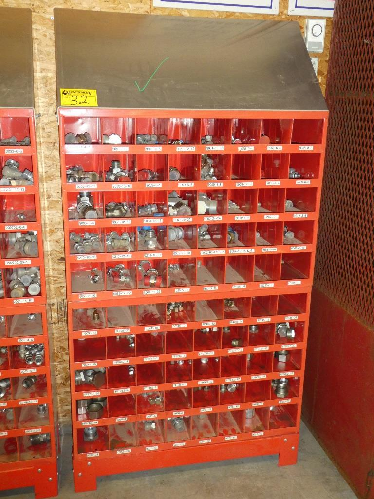 Lot 32 - 2-WURTH 40 COMPARTMENT BOLT BINS W/ STAND & SS HYD. PIPE FITTINGS