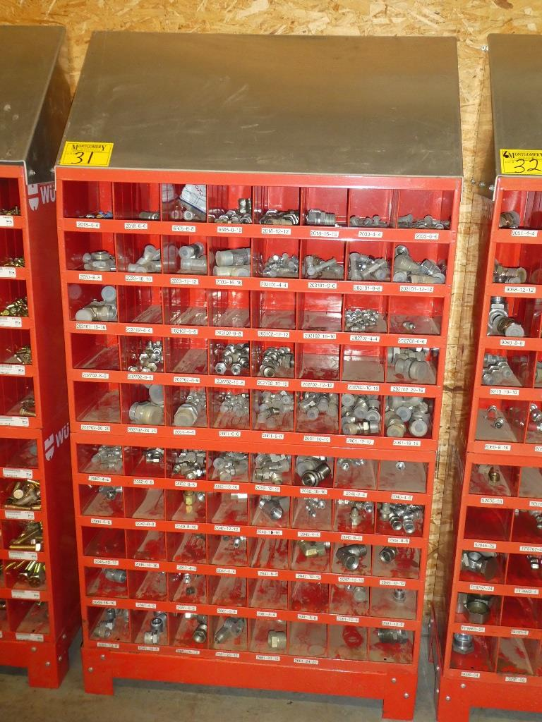 Lot 31 - 2-WURTH 40 COMPARTMENT BOLT BINS W/ STAND & SS HYD. PIPE FITTINGS