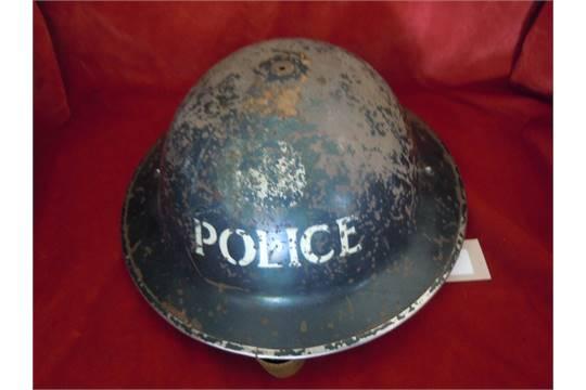 WWII British Home Front Police Brodie Helmet, missing top rivet