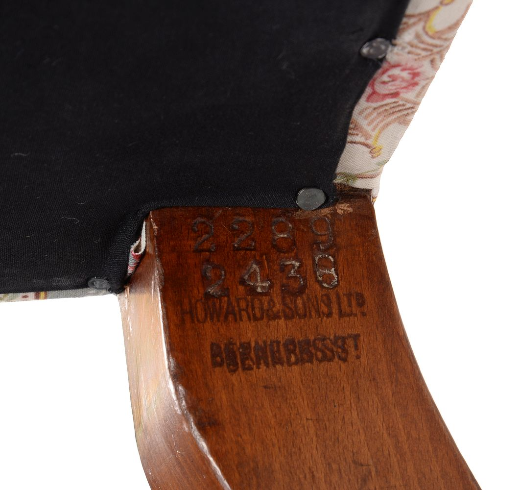A Victorian mahogany and upholstered sofa by Howard & Sons - Image 3 of 4