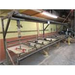 Clamp assembly machine, 18ft w/t 10 clamps + glue distrubution machine w/t glue gun