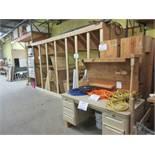LOT assorted racking, wood desk, etc.