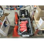 LOT including tool boxes, cones, gas containers, etc.