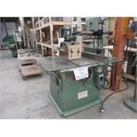"POITRAS table saw Mod: 508, c/w feeder, 12"" blade, 7 1/2 HP, 600 volts"