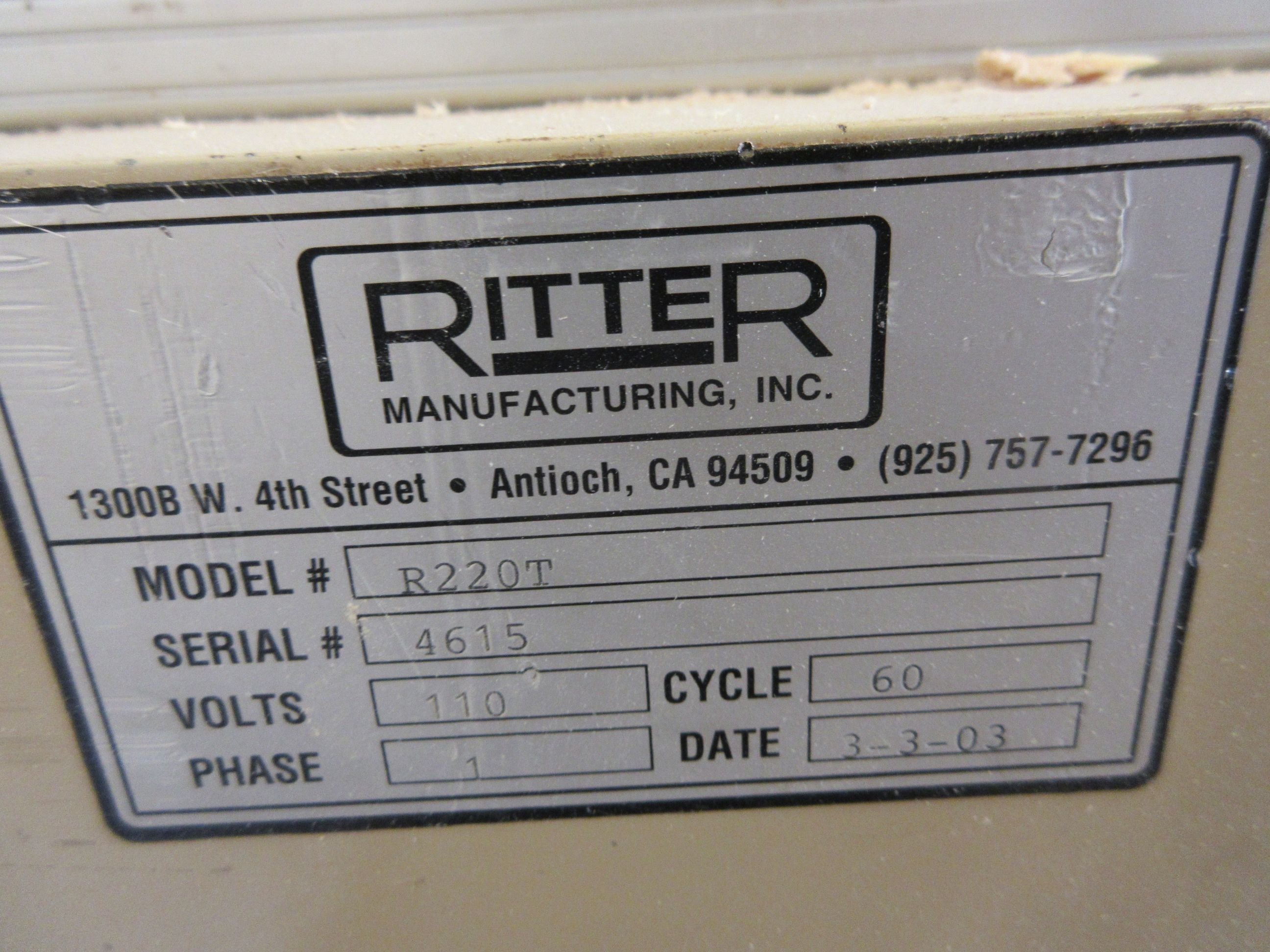RITTER pockethole (double), Mod: R220T, 600 volts (SUBJECT TO BANK APPROVAL) - Image 3 of 3