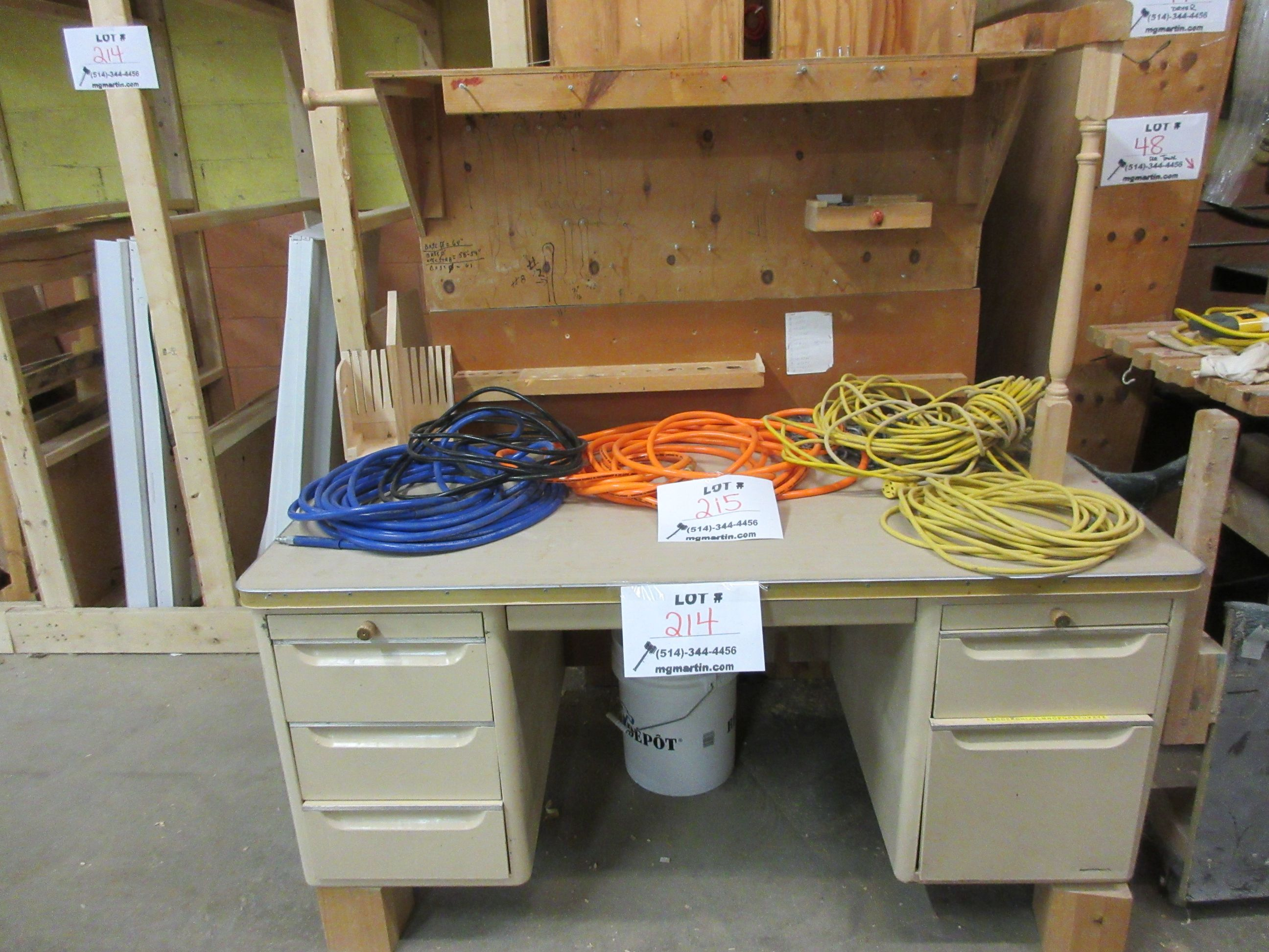 LOT assorted racking, wood desk, etc. - Image 2 of 4