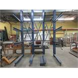 """CANTILEVER 2 sided heavy duty industrial wood racking 101""""w x 139"""" h x 60"""" d"""