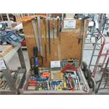 LOT including assorted tools c/w stock cart on wheels