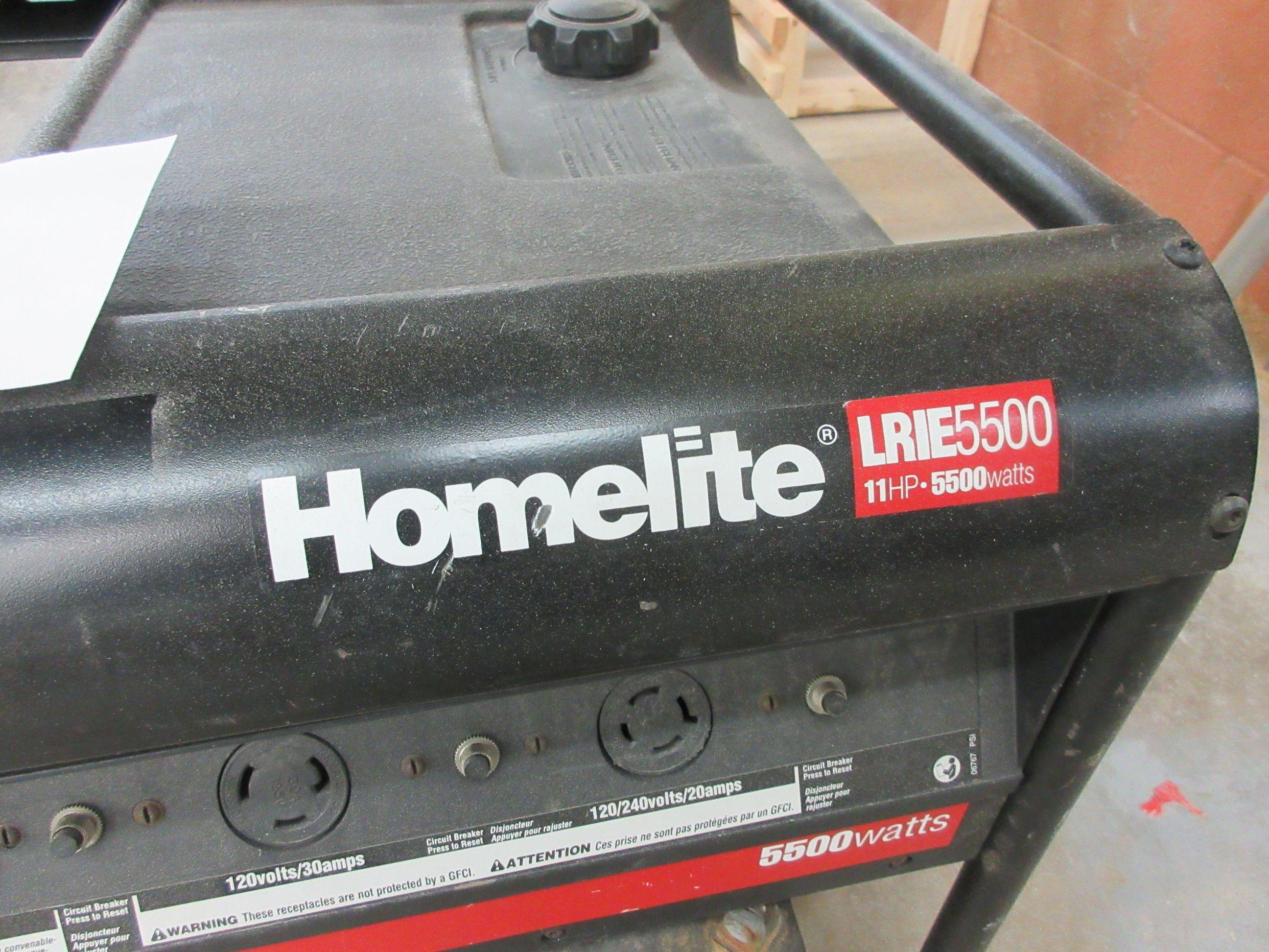 HOMELITE LRIE 5500 generator, 11 HP, 5500 watts - Image 2 of 3
